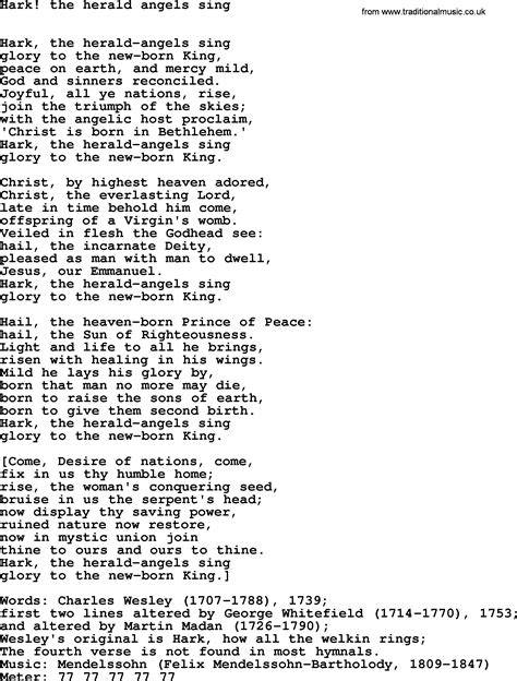 printable lyrics hark the herald angels sing hymns ancient and modern song hark the herald angels