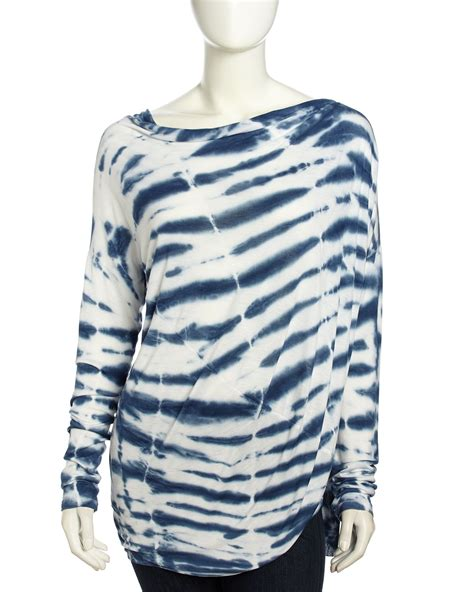 Blouse Medium Stripe fabulous asymmetric striped tie dye top marine sketchy stripe medium in blue
