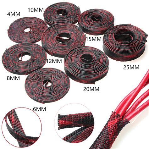 mm redblack braided cable sleeve tubing wire