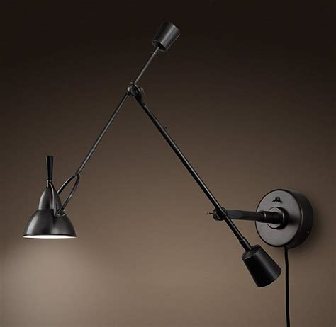 restoration hardware wall lighting counterpoise swing arm wall sconce bronze sconces