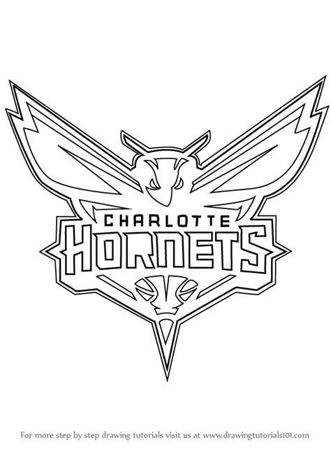 nba hornets coloring pages learn how to draw charlotte hornets logo nba step by