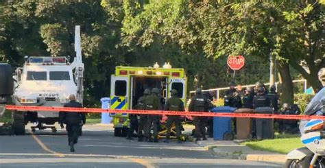 rubber sts montreal officer injured in cote luc shooting ctv