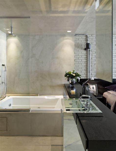 es bathrooms interiores de un loft moderno en estilo industrial en brasil