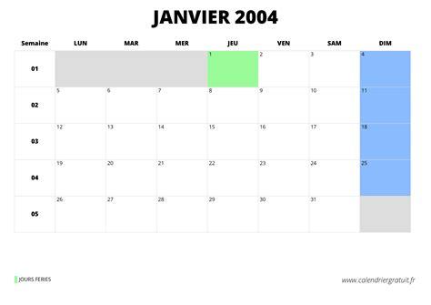 Calendrier Janvier 2004 Calendrier De Janvier 2004 224 Imprimer