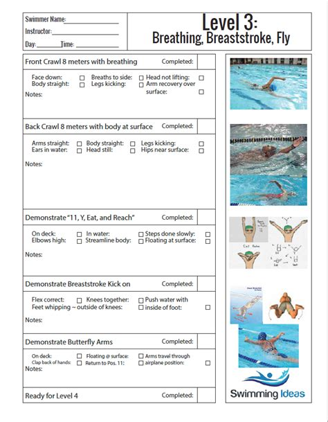 swimming lesson plan template level 3 swimming lessons ideas