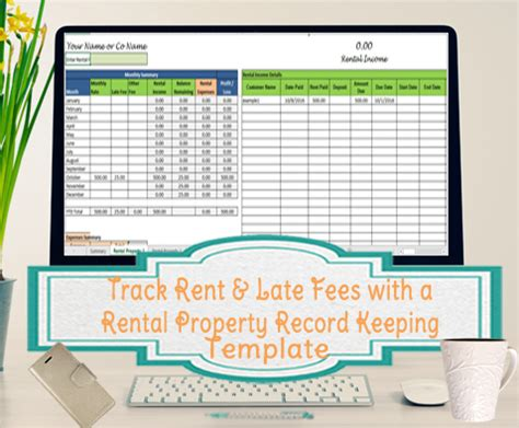 Track Rent And Late Fees Landlord Expenses Spreadsheet Rental Property Record Keeping Template Rental Property Record Keeping Template Excel