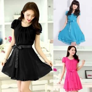 Stylish Lady Women's Casual Korean O neck Short Sleeve Layered Chiffon Dress