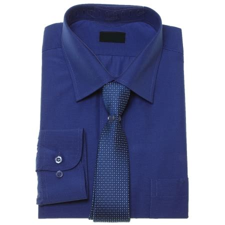 boys royal blue shirt and tie set in high quality fabric