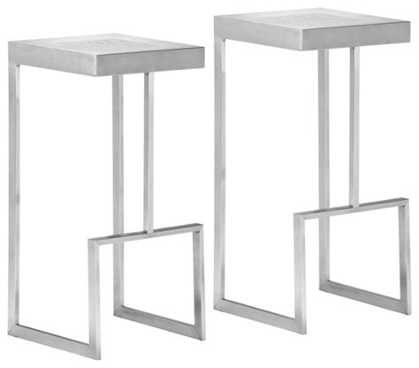 modern bar stools stainless steel zuo deal stainless steel modern bar stool set of 2