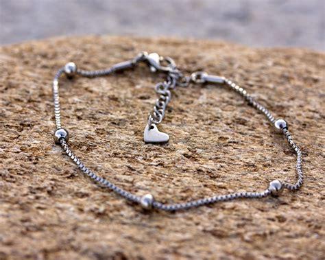 silver anklet silver ankle bracelet bridesmaid anklet