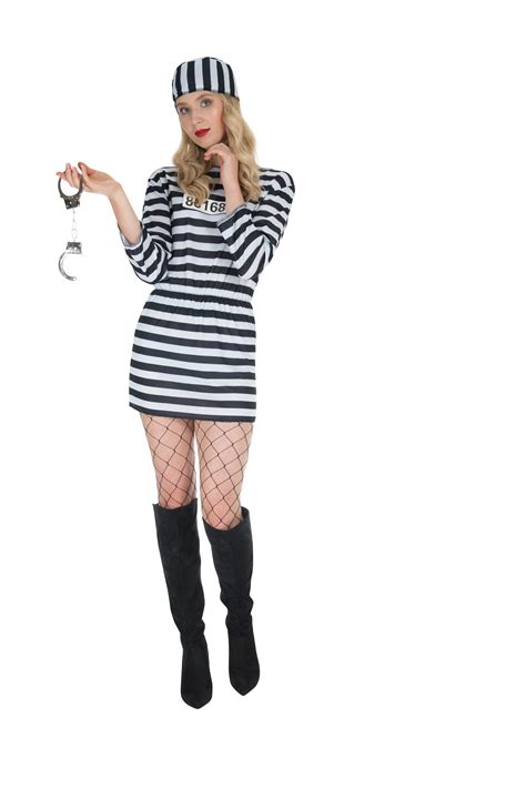 clothing shoes accessories costumes womens costumes convict prisoner costume womens jailbird halloween robber