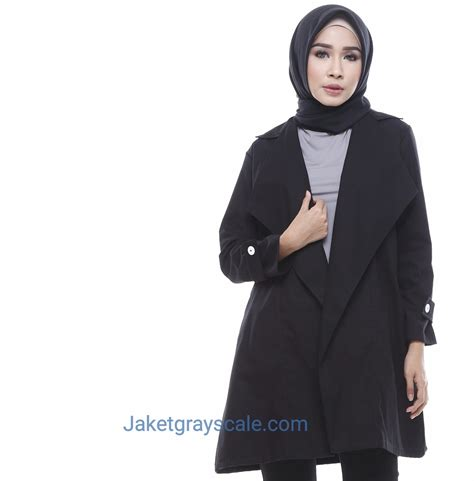 Outer Hitam outer muslimah blazer wanita terbaru 2017 hitam