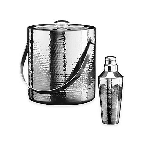 stainless steel barware oggi stainless steel hammered barware bed bath beyond