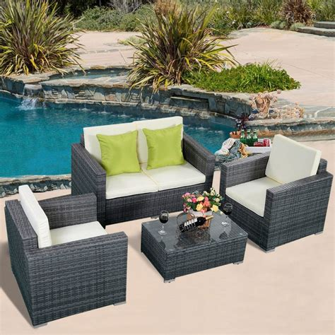 Rattan Patio Furniture Set Furniture Pc Rattan Patio Furniture Set Garden Lawn Sofa Cushioned Seat Gray All Weather Wicker