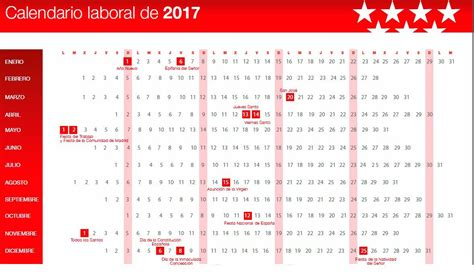 Calendario Oficial De Dias Festivos 2017 As 237 Es El Calendario Laboral De 2017 Madridiario