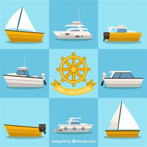great flats boats great collection of boats in flat design vector free