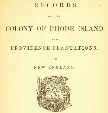 Records Rhode Island Title Page From Records Of The Colony Of Rhode Island Volume 1