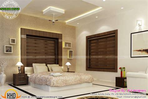 bifurcated stair bedroom kitchen interiors kerala home design  floor plans