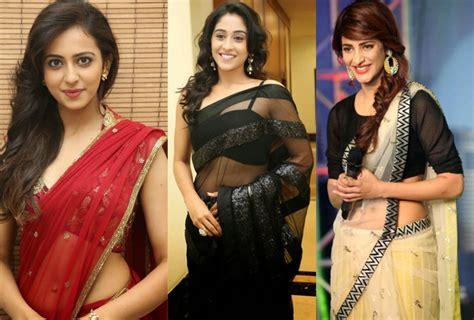 telugu heroines photos in saree tollywood actress hot transparent saree photos