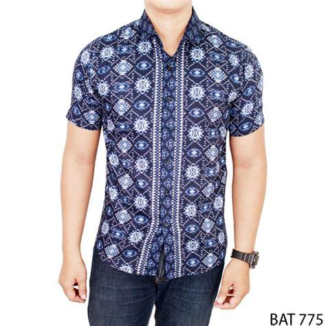 kemeja batik pria katun biru bat 775 gudang fashion