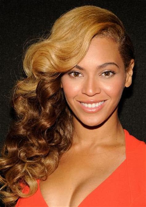 curls hairstyles on the side beyonc 233 s side swept ombre hairstyle prom wedding