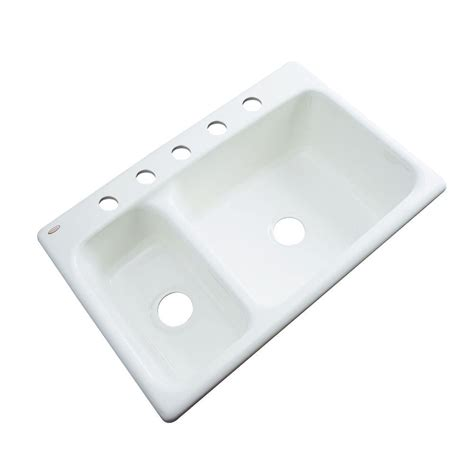 Thermocast Kitchen Sinks Thermocast Wyndham Drop In Acrylic 33 In 5 Bowl Kitchen Sink In White 42500 The