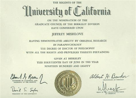 Computer Science And Psychology For Mba Program by Jeffrey Mishlove S Doctoral Diploma In Quot Parapsychology Quot