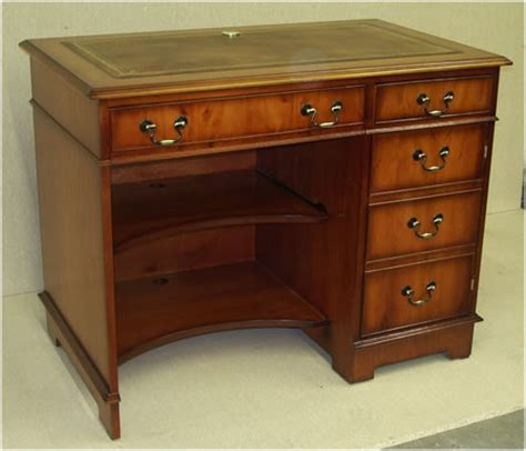 Leather Computer Desk Yew And Mahogany Reproduction Single Pedestal Computer