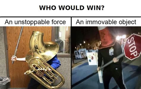 Unstoppable Meme - unstoppable boi vs immovable boi who would win know