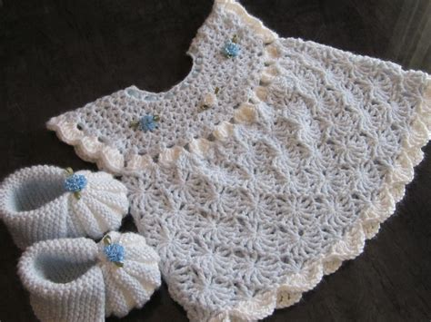 Handmade Crochet Baby Dress - handmade baby crochet dress and booties set 0 6 by
