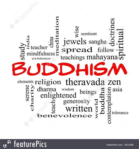 The Word buddhism words illustration