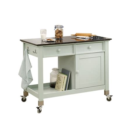 cottage mobile kitchen island sauder original tms with wooden top amp reviews wayfair