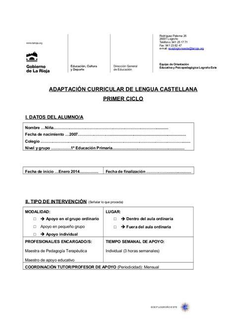 Modelo Adaptacion Curricular Ingles Primaria Adaptaci 243 N Curricular Lengua Primer Ciclo Primaria