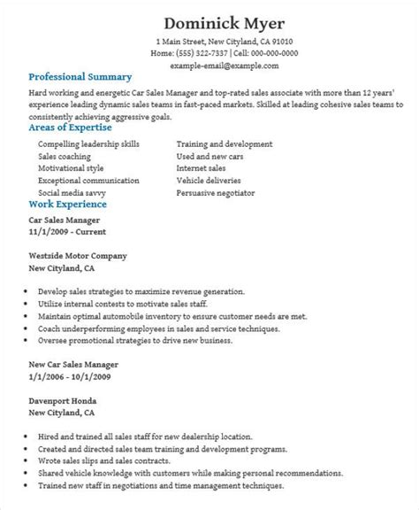Auto Sales Manager Sle Resume by 48 Manager Resume Templates