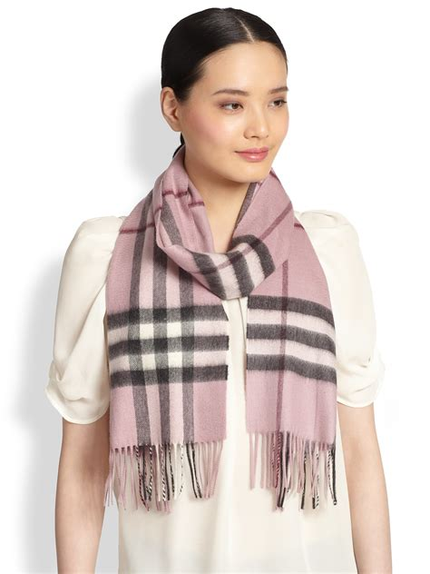 burberry pink check scarf in pink