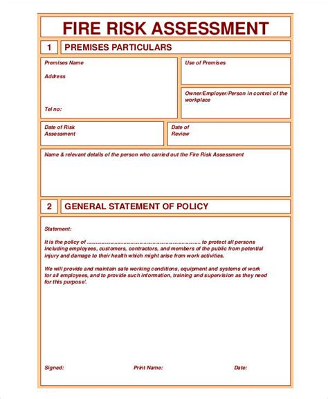 risk assessment forms    premium templates