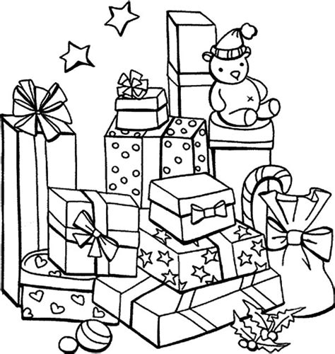 christmas tree with gifts coloring page christmas present coloring pages printable coloring image