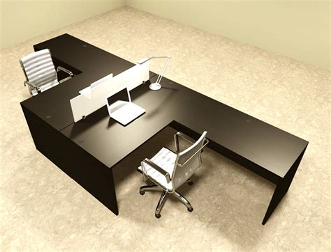 2 Person L Shaped Desk Two Person L Shaped Modern Divider Office Workstation Desk Set Ot Sul Fp28 Ebay