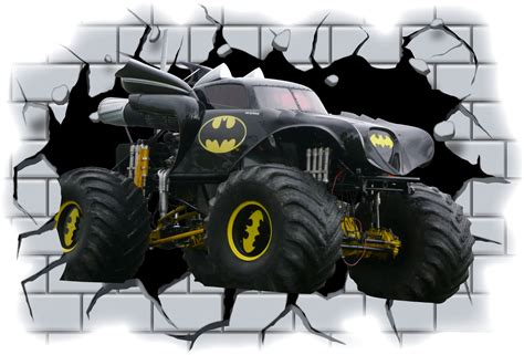Wallpaper Stiker 26 3d batman truck crashing through wall view