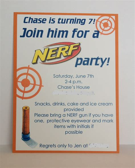 Nerf Birthday Party Invitation Inspired By Hue Nerf Gun Birthday Invitation Template