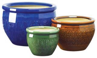 Ceramic Glazed Planters glazed ceramic flower pots set of 3 mediterranean indoor pots and planters by pots and