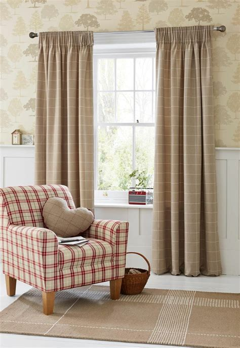 Buy Natural Homely Check Pencil Pleat Curtains From The