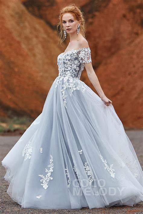 fancy   shoulder tulle zipper gothic wedding dress