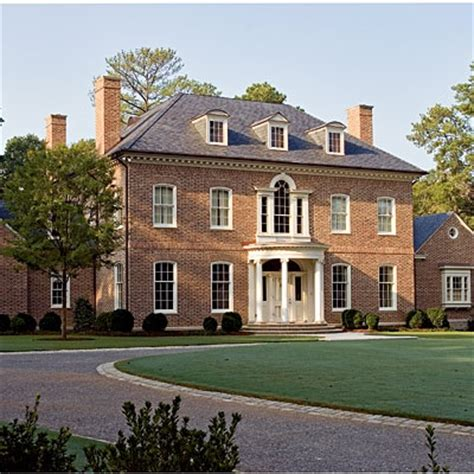 Hip Roof Colonial House Plans Georgian Large Rectangular Brick House With Formal Classical Design A Hipped Roof Dormers