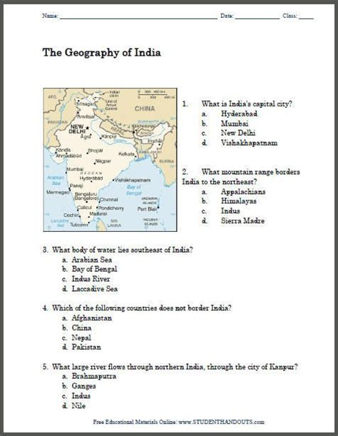 7th Grade Social Studies Worksheets by Geography Of India Map Worksheet Free To Print Pdf File