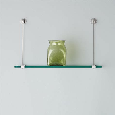 wall shelves with brackets glass wall shelves with cable brackets the container store