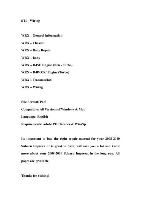 2009 subaru forester repair manual