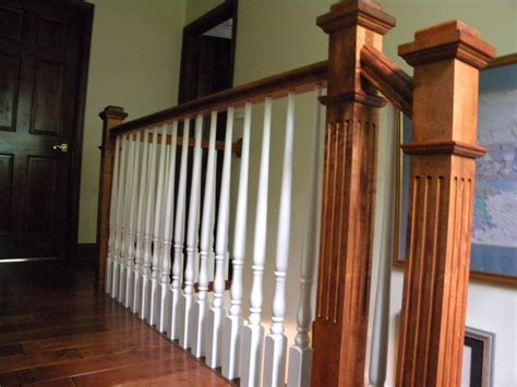 style l post wood stairs and rails and iron balusters maple