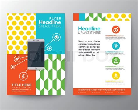 layout leaflet trendy graphic design layout with smart phone concept