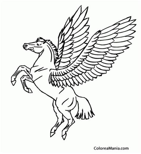 imagenes de unicornios con alas para colorear colorear pegaso con cola recortada animales fantsticos